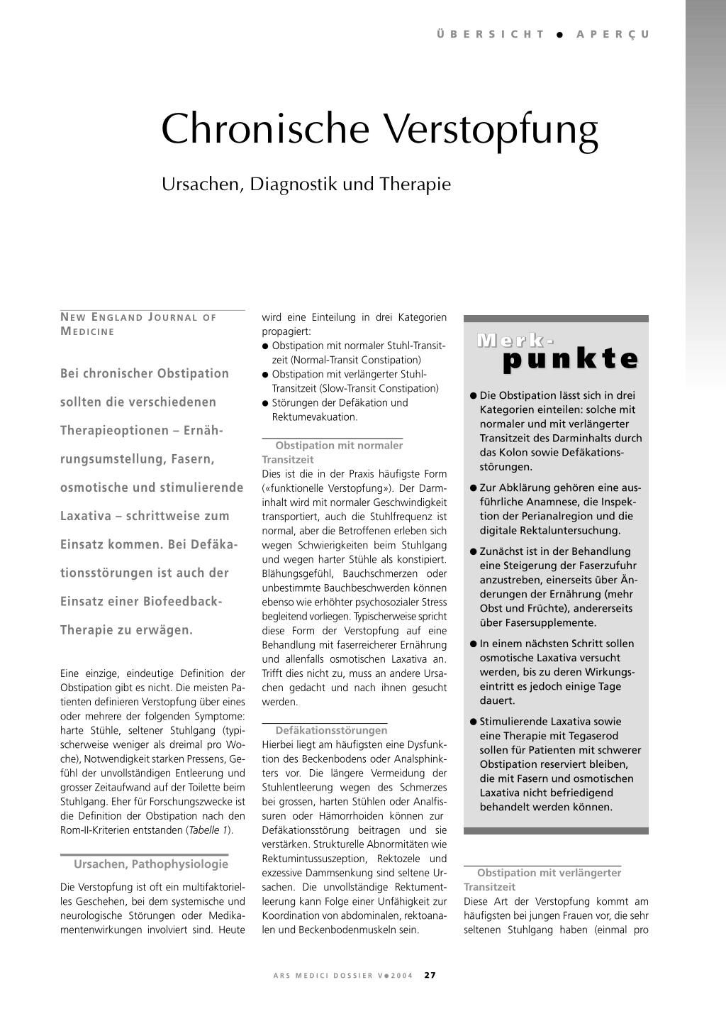 Chronische Verstopfung Rosenfluhch