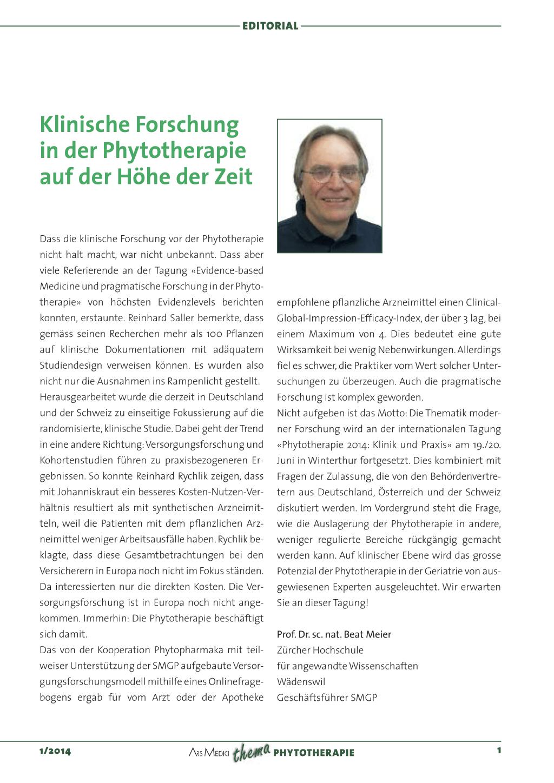 Klinische Forschung in der Phytotherapie auf der Höhe der Zeit ...