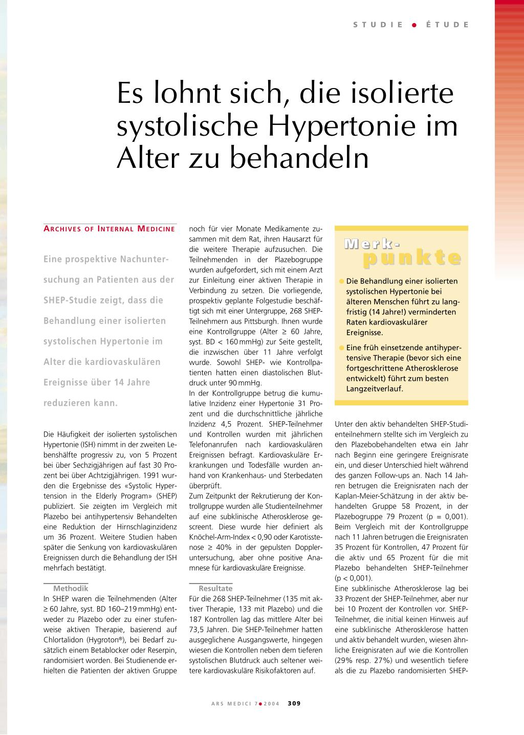 Es lohnt sich, die isolierte systolische Hypertonie im..