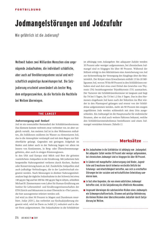Jodmangelstörungen und Jodzufuhr – Rosenfluh.ch
