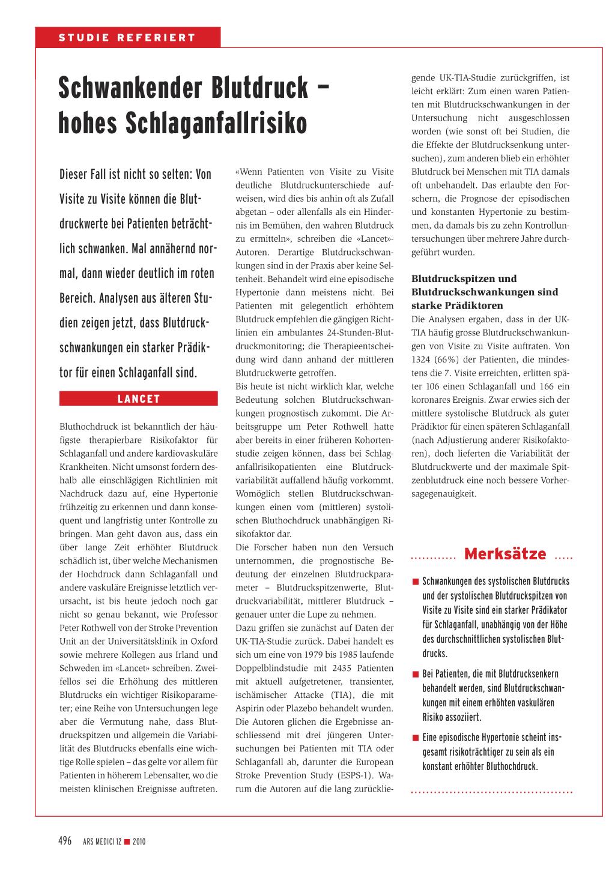 Schwankender Blutdruck - hohes Schlaganfallrisiko..
