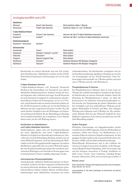 Therapie Der Benignen Prostatahyperplasie Rosenfluh Ch