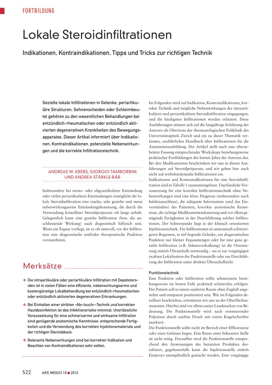 Lokale Steroidinfiltrationen – Rosenfluh.ch
