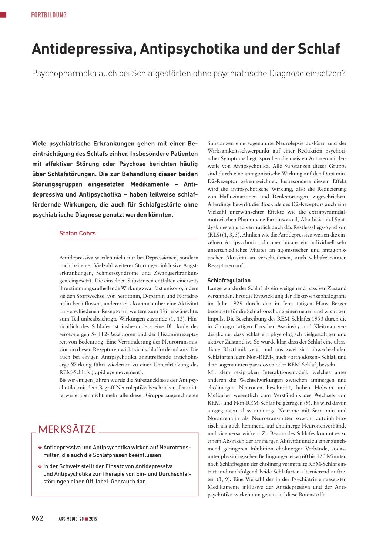 Antidepressiva, Antipsychotika und der Schlaf – Rosenfluh.ch