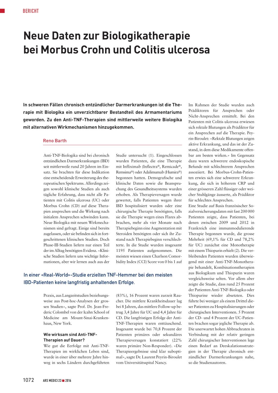 Neue Daten Zur Biologikatherapie Bei Morbus Crohn Und Colitis Ulcerosa Rosenfluh Ch