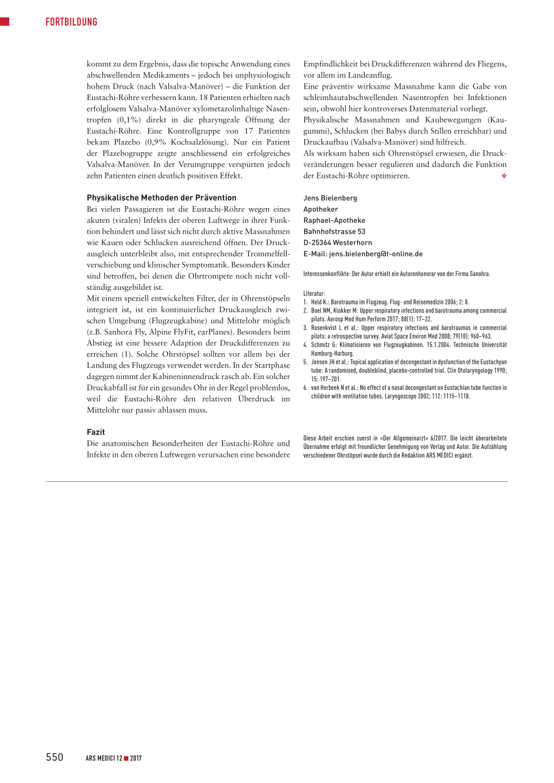 Barotrauma beim Fliegen vermeiden – Rosenfluh.ch
