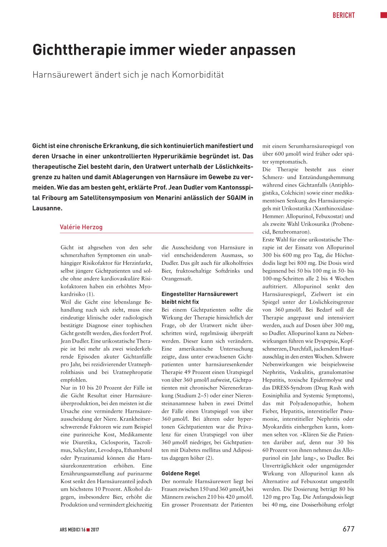 Gichttherapie immer wieder anpassen – Rosenfluh.ch