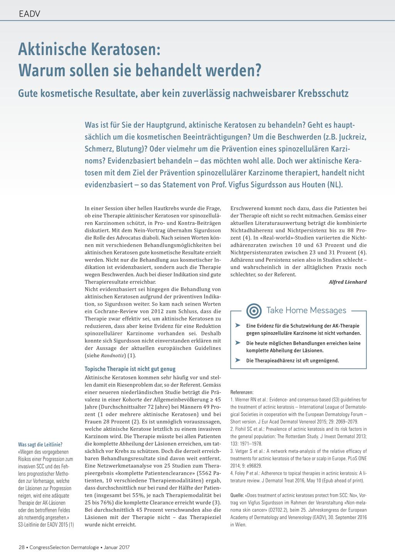 Aktinische Keratosen – Warum sollen sie behandelt werden? – Rosenfluh.ch