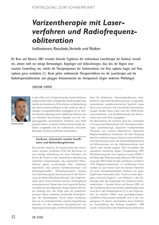 Varizentherapie mit Laserverfahren und Radiofrequenzobliteration ...
