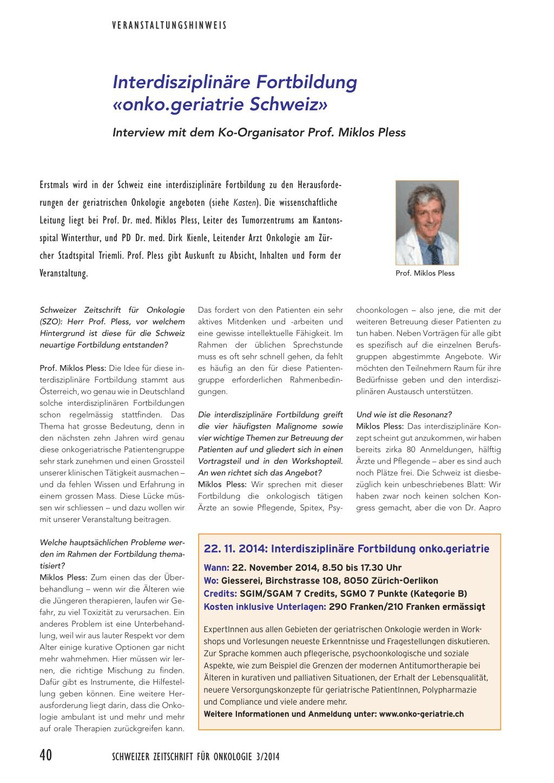 Interdisziplinäre Fortbildung Onkogeriatrie Schweiz Rosenfluhch