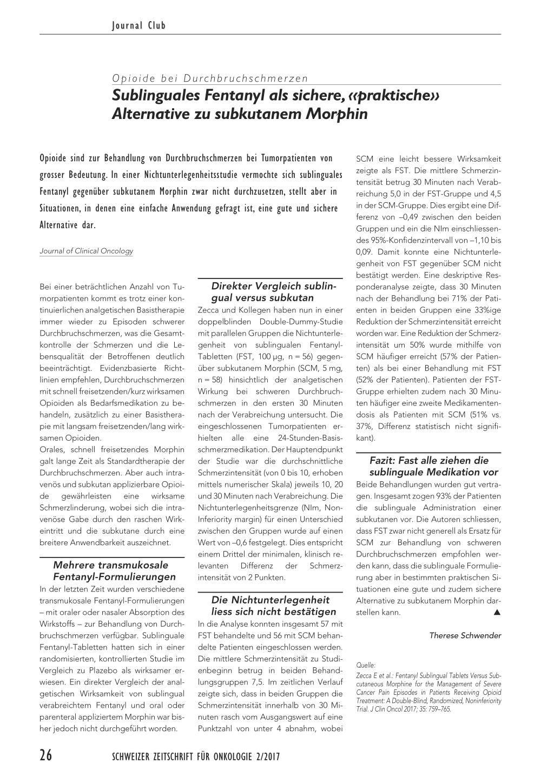 Sublinguales Fentanyl Als Sichere Praktische Alternative Zu