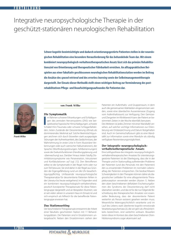 Integrative neuropsychologische Therapie in der geschützt ...
